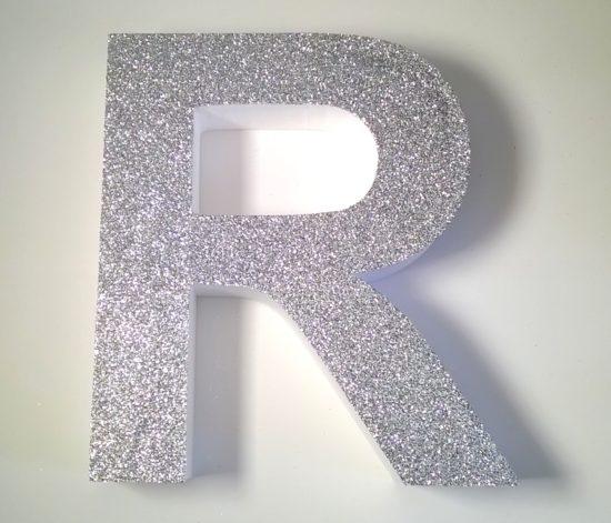 silver glitter letters