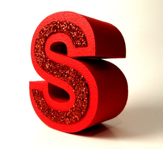 Red glitter letters for shop displays